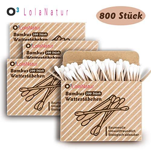 O³ Wattestäbchen Bambus // 4x 200 Stück (800 insgesamt) ohne Plastik // 100{4c5592a3850a25de7ef647c3411fe9a92743185db2d79836cd80d2ed05db888c} biologisch Abbaubar // Aus Bambus und reiner Baumwolle // Ohrenstäbchen