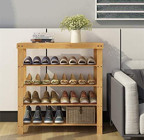 Schoenenrek van natuurlijk bamboe, eenvoudige meerlagige schoenenkast, multifunctioneel rek, schoenenrek op vloer (maat: 90 cm) 70CM