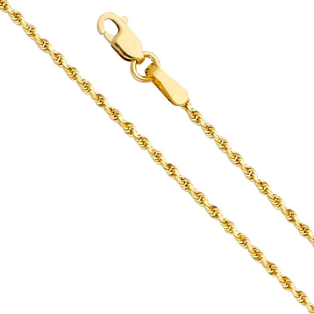 14k REAL Yellow Gold SOLID 1.5mm Rope Diamond Cut Chain Necklace with Lobster Claw Clasp