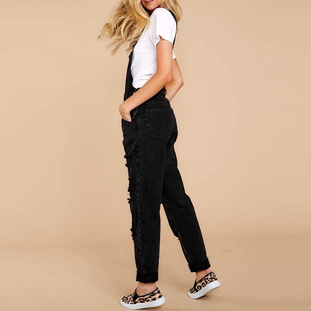 Women Dungarees Denim Black Ripped Jeans Ladies Trousers with Pockets Adjustable Strap Jumpsuits Baggy Wide Leg Loose Fit Retro Frayed Holes Cowboy Pants Overalls Playsuit