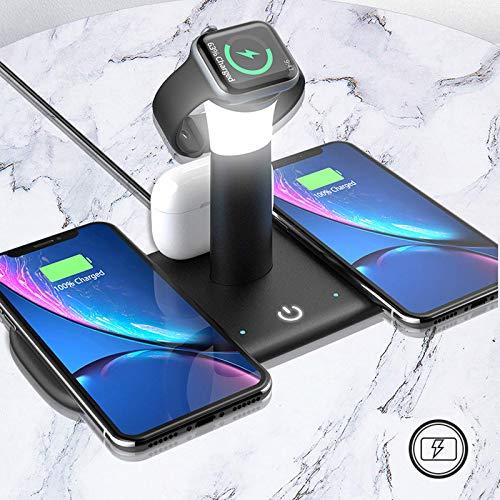 Soporte de estación de acoplamiento de cargador inalámbrico, adecuado para iPhone Samsung Soporte de teléfono móvil de escritorio con carga inalámbrica de succión magnética, multifunción con lámpara