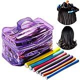 42 Unids Rodillos para el Cabello,Beautyshow Rulos Para el Pelo Rizador Bigudíes para Pelo Twist-flex Rods Flexibles Bigudíes de Peluquería Conjunto de Espuma Mujeres Chicas (Color Aleatorio)