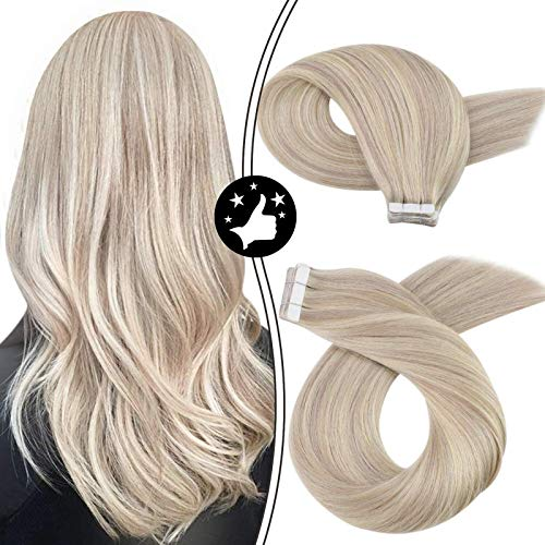 Moresoo Tape in Extensions Echthaar Ombre Aschblond mit Bleach Blond 100% Remy Tape in Human Hair Extensions 16 Zoll 50g/20pcs