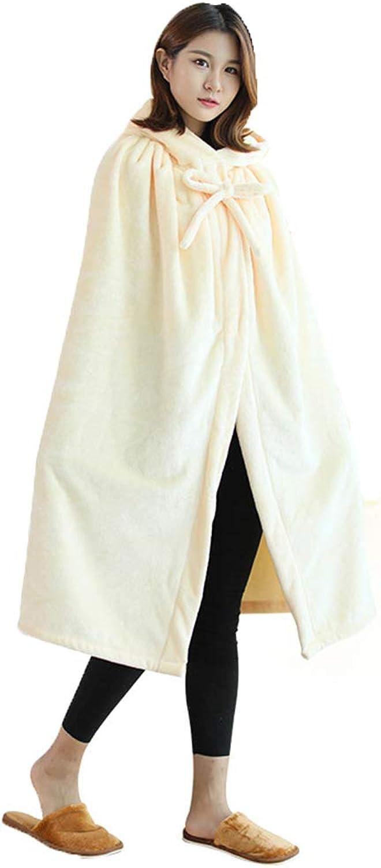 DMGF Kapuzenumhang - Fleece Cape Mantel mit warmen Knopf und Hut, Winter Outwear Mantel für Erwachsene Frauen Mnner (12Farben)