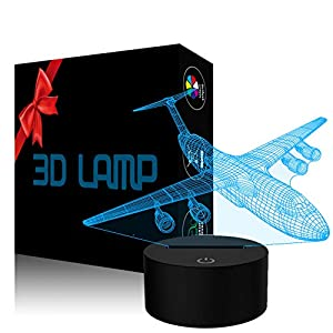 Night Light LED 3D Visual Illusion Lamp 7 Color Changing Touch Sensor Desk Table Lamp USB Cable