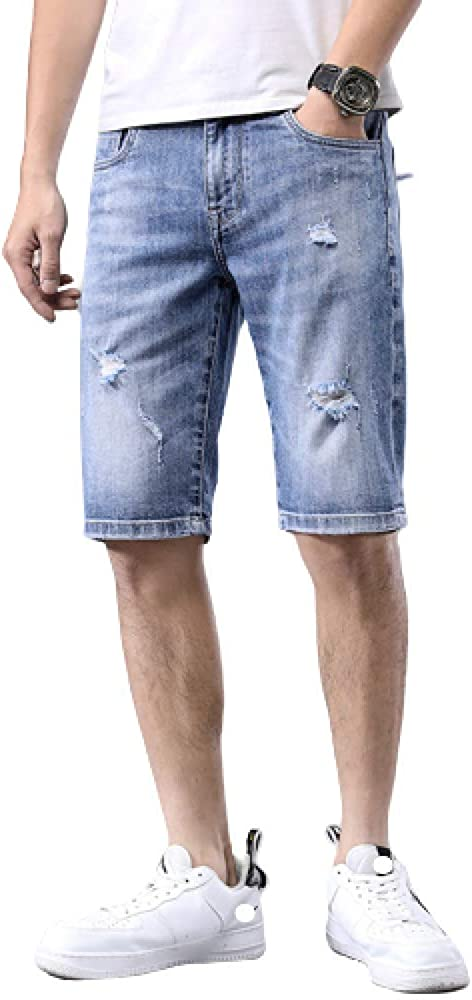 brandless Men's Shorts Denim Shorts Summer Solid Color Large Size Hole Fashion Casual