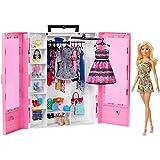 Barbie Fashionista Armario portable con muñeca incluida, ropa, complementos y accesorios de muñecas, regalo para niñas y niños 3-9 años (Mattel GBK12)
