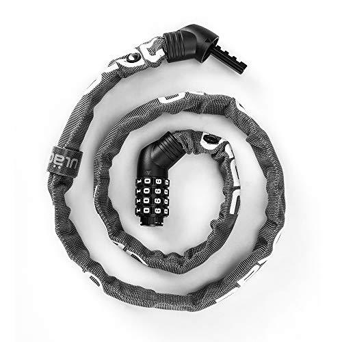 ULAC 自転車 チェーンロック 鍵 ダイヤルロック ケーブルロック バイク ロック ワイヤーロック 高切断対抗 ケーブルロック 盗難防止 頑丈 4桁暗証番号