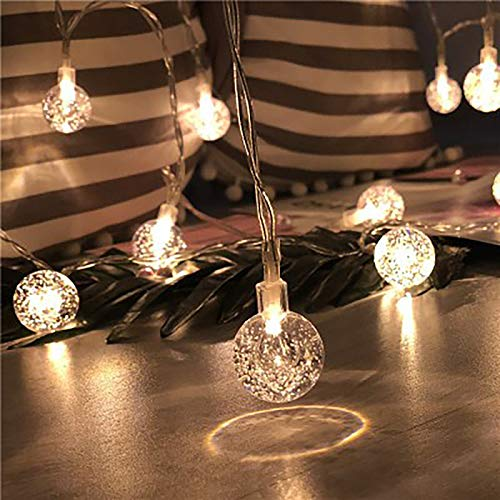 Solar String Light for Outdoor - 20 LED Crystal Ball String Lights,Solar Powered Waterproof 8 Modes Decorative Fairy Lights for Backyard Wedding,Christmas,Bistro,Garden Decoration(Cold White)