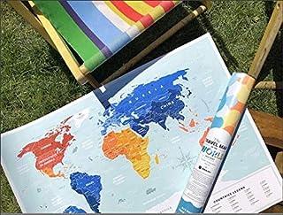 Travel Map World (Holiday Lagoon) トラベルマップ ワールド ホリデーラグーン スクラッチ世界地図 ビーチ 旅行 ポスター 60×80cm