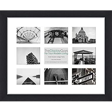 """The Display Guys Contemporary Photo Collage 16x20 inches Black Wooden Photo Frame, Tempered Glass, with 1pc White Mat Board for 9-4""""x6"""" Pictures"""
