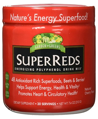 Garden Greens Super Reds Energizing Polyphenol Superfoods, Antioxidants, Powder Drink Mix, 30servings