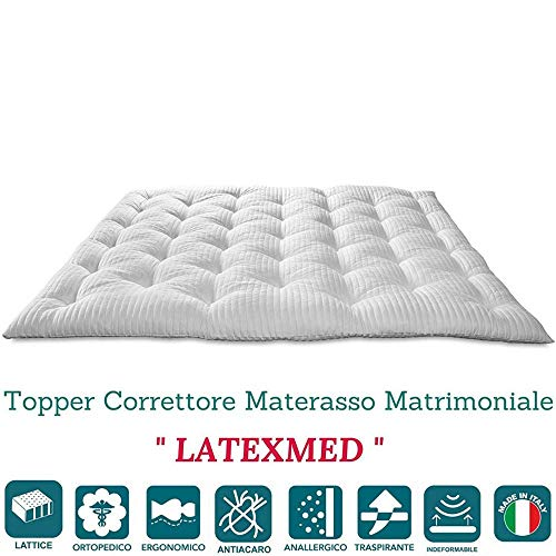 Evergreenweb - Correttore Materasso in Lattice Matrimoniale 160x190 Alto 7 cm, Topper Letto, Coprimaterasso Imbottitura Fiocco 100% Effetto Piuma Morbido, Futon Ortopedico, Fodera Antiacaro LATEXMED