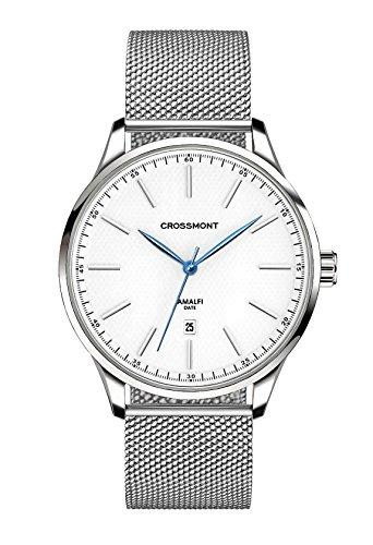 Sterling Crossmont orologio al quarzo da 40.9mm con display analogico bianco e cinturino in acciaio INOX 0110415