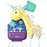 Shemira Baby Bath Toys for Toddler 1 2 3 Years Old, Bathtub Toys for Infant, Lovely Giraffe for Bath Time with Spinning Gear Rotating Waterfall Fun Water Spout.Best Water Toys Gift for Toddlers.