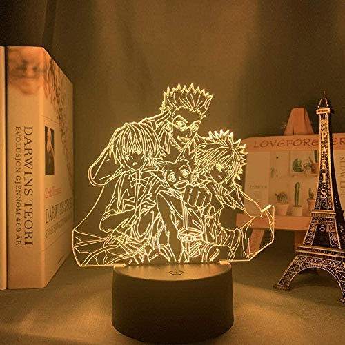 Luz nocturna LED 3D de ilusión X Hunter Killua para habitación infantil, decoración HXH Group, anime, regalo, acrílico, lámpara de mesa para niños