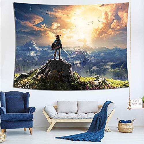 LSSQT Tapices,Telón De Fondo Tapiz De Moda The Legend of Zelda Anime Colgante De Pared Hippie Colchas Decoración Alfombras De Pared Manta Tamaño A