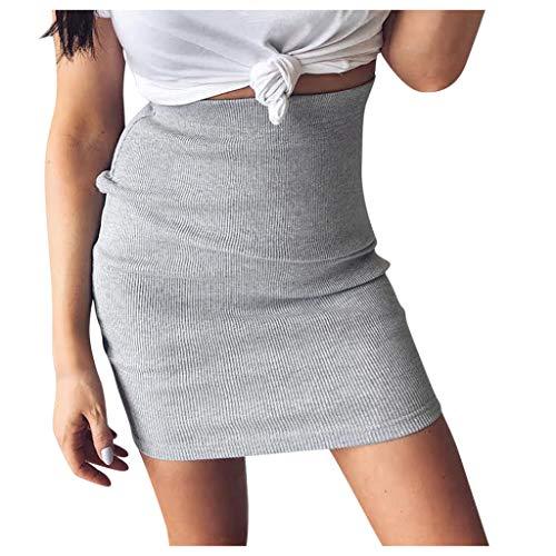 Zarupeng Frauen Bodycon Strickrock Hüftrock Hohe Taille Stretch Minirock Solid Color Dünne Formale Bleistiftrock Kurze Röcke