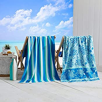 """2 PackPlushTurtle & Stripes PrintBeach Towels 100% CottonNautical Beach Towels Large Pool Towels.Maui Collection 30""""x60"""""""