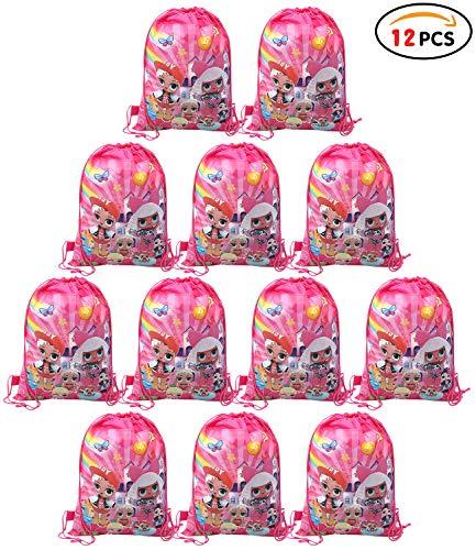 Qemsele Borse Festa per Bambini, 12 PCS Borse Sacca Zaino con Coulisse Sacchettini del per Bambini Tema Riutilizzabile Festa di Compleanno Bambini bomboniare Borsa Sacchetto Festa (LOL)
