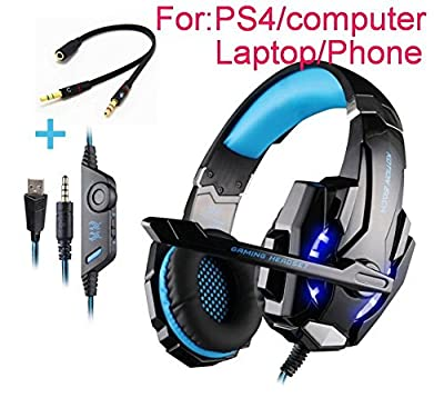 Beyda Tech NEW Gaming Headset Game Headphone Headsets with Microphone LED Light 3.5mm for PS4 Computer.Laptop.Tablet.All Mobile Phones with Noise Cancelling & Volume Control ?Blue?