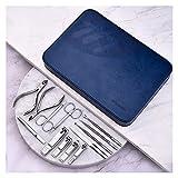 Manicura Pedicura Set Set de manicura 13 en 1 Kit de aseo profesional de acero inoxidable Kit de clavos adultos Conjunto de pedicure Herramientas de cuidado de clavos con caja de viaje de cuero azul S