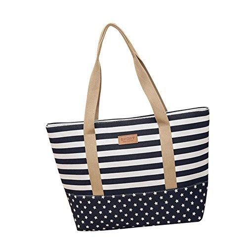 Anliyou Taschen aus Canvas Shopper Damen Segeltuchtasche mit weitem Taschenriemen Colorblock Stofftasche Stoffbeutel Jutetasche Faltbar Tote Bag Schuhltertasche Einkaufstasche (Dunkelblau Groß)