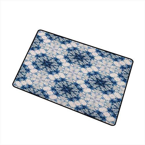 AoLismini Tapis de Porte Technique d'art Tribal Tie Dye Caractéristiques des Formes étranges et brumeuses au Design de l'axe symétrique Le Tapis de Porte est inodore et Durable Blue Grey
