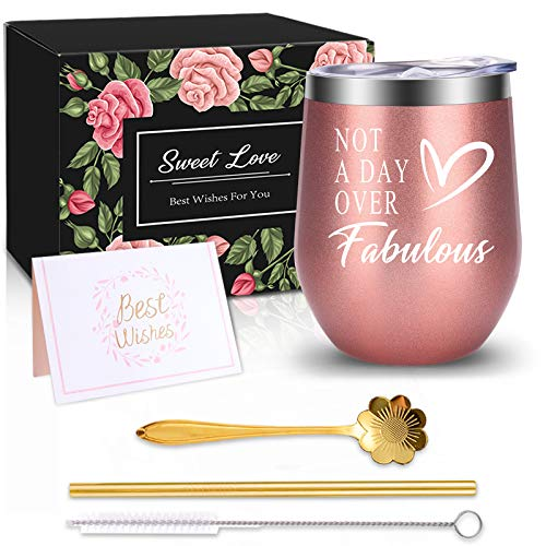 Birthday Gifts for Women, Funny Best Friend Gifts for Women, Thank You Gifts for Women, Mom, Wife, Sister, Teacher - Wine Tumbler Gifts for Her ,Stainless Steel Tumbler with Lid & Straw