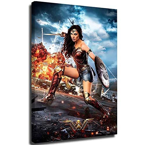 Coobal Wonder Woman - Póster de película clásica para baño, decoración de pared, oficina, decoración de pared, arte para sala de estar, dormitorio, paredes de 45,7 x 61 cm