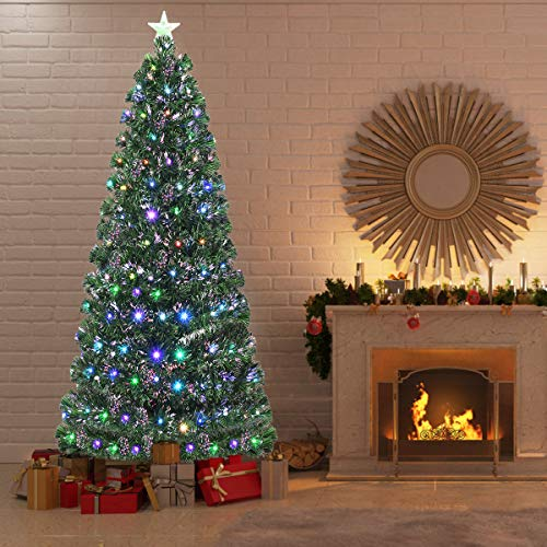 Goplus 7ft Pre-lit Artificial Christmas Tree, Optical Fiber Tree with 8 Flash Modes and Multicolored LED Lights, for Xmas Indoor Decor