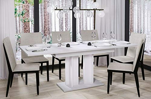 Endo-Moebel Esstisch Aurora 130cm - 210cm erweiterbar ausziehbar Säulentisch Küchentisch (Eiche Sibiu Lärche hell)