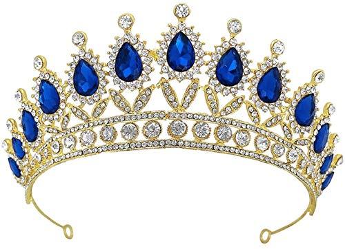 Plztou 1pc Crystal Headband Delicate Crown Hada Bridal Hada Joyería (Color : Azul)