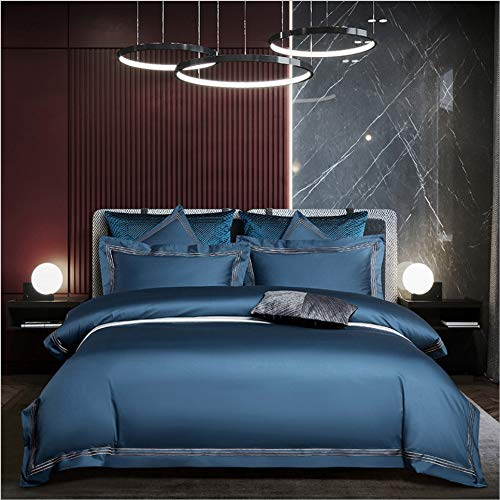 DUIPENGFEI Four-Piece Solid Color Brushed Embroidery Bed Set, Cotton Skin-Friendly Duvet Cover Set, Starry Blue, Double Duvet Cover 200X230Cm