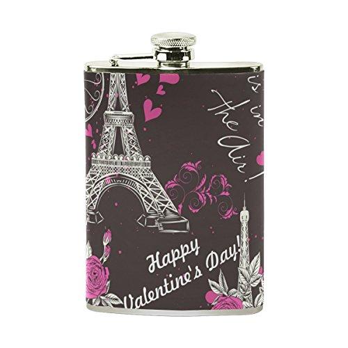 Tizorax Paris de l'Eifel Tour Fleur de Saint-Valentin en acier inoxydable Flasque, poche Pichet, le camping, Pot de vin, cadeau pour homme ou femme, 226,8gram