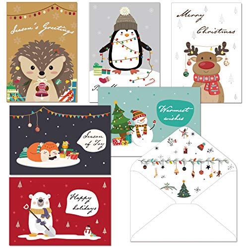 Christmas Cards Set - 24 Happy Holiday Cards with Envelopes Cute Animals Holiday Greeting Cards Bulk Large Professional Looking 4'x6' for Everyone on Your Christmas List