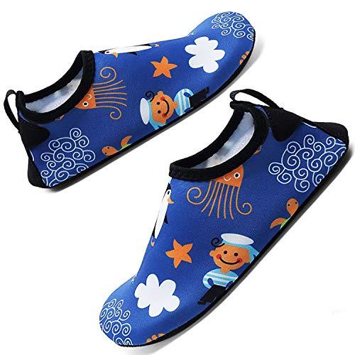 Aquaschuhe Schwimmschuhe Strandschuhe Surfschuhe für Herren Damen Slip On Breathable Wasserschuhe Jungen rutschfeste Yoga Beach Shoes, Blue 10, 34/35 EU
