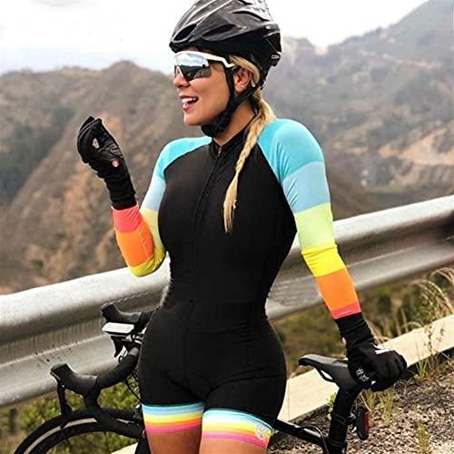 Triathlon Damen Radfahren Jersey Set Mountain Bike Shorts Sweatshirt Langarm Einteiliger Overall (Color : 50, Size : X-Large)
