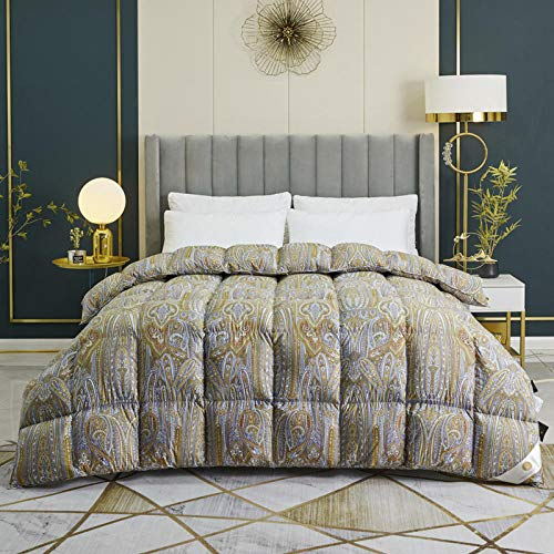 CHOU DAN Duvet Double Bed 13.5 Tog,White Goose Down Duvet 95 Dorm Spring And Autumn Quilt Thickened Winter Quilt Core Winter Quilt-220 * 240cm 4000g_golden And Bronze