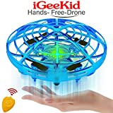 iGeeKid Hand Operated Mini Drones Kids Flying Ball Toy for Boys Girls Age 4-14 Year Infrared Induction Helicopter UFO Drone with 360° Rotating LED Light Outdoor Sports Toy