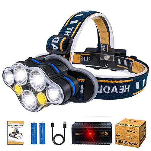 Aukelly Headlamps LED Headlights USB Rechargeable Headlamp High Lumens Head Torches with Red Lights,8 Modes,Waterproof Headlamp for Camping Cycling Fishing,18650 Battery Included