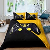 Gaming Bedding Set Twin Size Yellow And Black Gamepad Comforter Cover For Boys Teens Kids Video Games Gamer Duvet Cover Action Buttons Game Console Joysticks Bedspread With Zipper Ties, No Comforter