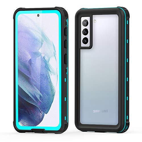 Aosailjet Funda Impermeable Samsung Galaxy S21 [Anti-rasguños][Protección de 360 Grados],Case Protectora con Protector de Pantalla Incorporado para Samsung Galaxy S21 (Azul)