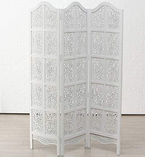 Immo Edler Paravent Doloria Weiß Mangoholz 188 x 137cm Holz Raumteiler Weiss