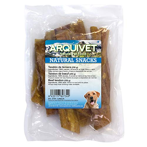 Arquivet Snack para perros de tendón de ternera - Snacks naturales para perro - Chuches para perro - Golosinas para perro - Premios y recompensas para perro - Bolsa 250 g