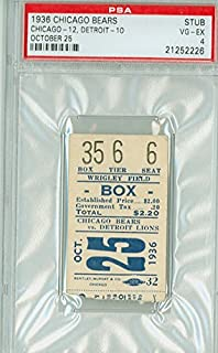 1936 Chicago Bears Ticket Stub vs Detroit Lions - Bears 12-10 October 25,