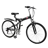 New 26' Folding Mountain Bike Foldable Bicycle 6 SP Speed Shimano, Black Color