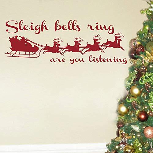 Adhesivo decorativo para pared, diseño de trineo con campanas de Papá Noel y reno, tamaño grande, 22 x 58...