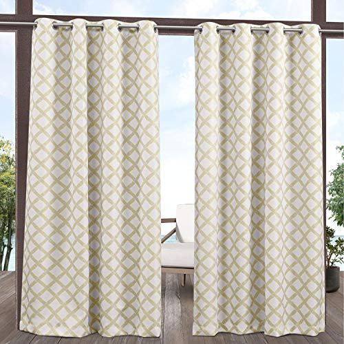 Exclusive Home Curtains Bamboo Trellis Indoor/Outdoor Light Filtering Grommet Top Curtain Panel Pair, 54x96, Khaki/Ivory