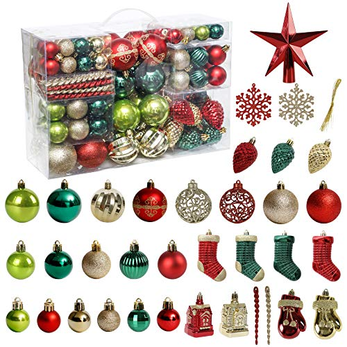 Christmas Tree Ornament, 132pcs Christmas Tree Decoration Set Red Green Gold Christmas Ball Shatterproof Hanging Tree Ornament Assortment Set
